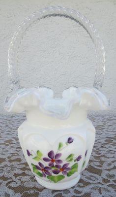 FENTON Art Glass Silvercrest Violets In The Snow Basket Signed B PEZZONI