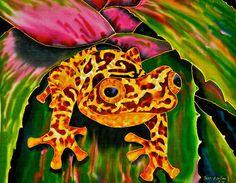 Jean-Baptiste.com Silk Painting of a treefrog