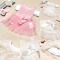 Wish | Child Kids Girls Princess Party Wedding Lace Dress Flower Bowknot Tutu Skirt
