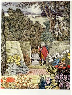 Vintage  Maurice Sendak Poster Print - Mozart in the Garden.
