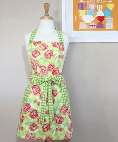"""Handmade apron by me. Made with Amy Butler's Tangerine Tumble Roses fabric from her """"Love"""" collection $50"""