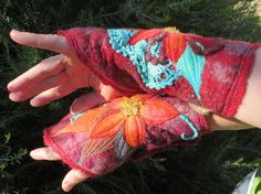 Joyful felted armwarmers with citrine crystal pieces