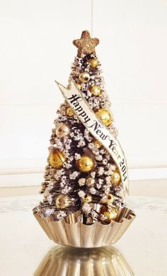 Tree with HAPPY NEW YEAR 2014 Banner, Gold and Silver Vintage Glass Beads Tree