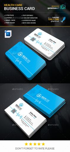 Health Care Business Card - #Business Cards Print Templates Download Here: https://graphicriver.net/item/health-care-business-card/20083689?ref=suz_562geid