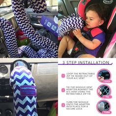 MOMMY SHARE: This is one of my favorite products I own. My daughter being rear facing while in the car causes her to not get enough air flow & she ends up dripped in sweat. So we bought a noggle & it keeps her cool back there. She loves it! You can also hang it around the head rest on the seats or even on the hand bar in the back seats, it works for kids of ALL AGES (Forward or rear facing, or even the elderly). It works for a/c AND heat during the winter! I recommend this to parents, pet…