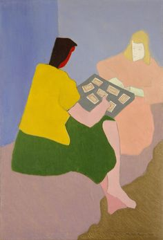 Milton Avery (American, 1885–1965) The Card Players, 1945. Oil on canvas 50 × 34 in..................Shape