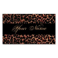 Leopard Print Elegance Business Card. This great business card design is available for customization. All text style, colors, sizes can be modified to fit your needs. Just click the image to learn more!