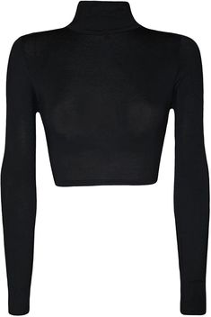 21fdc12b0db Womens Turtle Neck Crop Long Sleeve Plain Top-Thin Fabric - Black -  CX12O74IXZ3