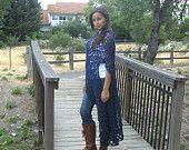 BLUE Maxi BOHO VEST Crochet Long Vest, Cardigan Sweater Poncho Shawl Fit  Any Size Hippie Long Vest Boho Chic Feminine Handmade