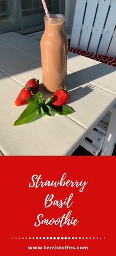 A delicious alternative to spinach, basil adds a nice finish to this strawberry forward smoothie. #smoothies #strawberrysmoothie #basil #strawberrybasil