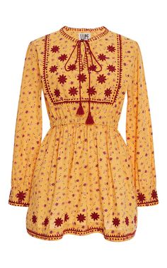 Embroidered Yellow Coba N Dress by LUPE for Preorder on Moda Operandi
