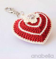 Anabelia craft design: Heart with free crochet chart ✿⊱╮Teresa Restegui… Crochet Chart, Love Crochet, Crochet Gifts, Crochet Motif, Crochet Designs, Crochet Flowers, Crochet Patterns, Bandeau Crochet, Knitted Heart