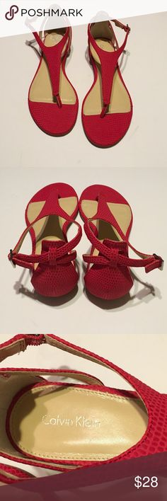 Calvin Klein Sandals Red in new condition Calvin Klein Shoes Sandals