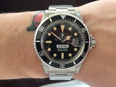 Rolex ref. 1680 Submariner for Comex, a French diving company. Interesting to note that 1680s weren't given to Comex divers but r...