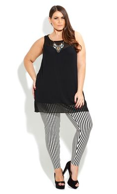 CITY CHIC - PONTE STRIPE LEGGING  - Women's plus size fashion                                                                                                                                                     Más