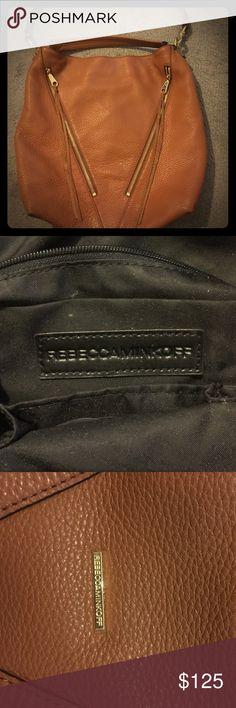 100% Leather Rebecca Minkoff Handbag 100% genuine leather authentic Rebecca Minkoff Camel colored bag, gently used in great condition, has a detachable strap ... NO TRADES !!!! Rebecca Minkoff Bags Shoulder Bags