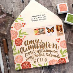 Hand Lettering Envelopes, Mail Art Envelopes, Cute Envelopes, Decorated Envelopes, Addressing Envelopes, Pen Pal Letters, Cute Letters, Letters Mail, Envelope Art