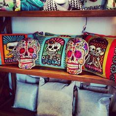 Sugar Skull Pillows #DayoftheDead #Pillows de Barrio Antiguo