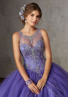 Jeweled Beading on a Split Front Tulle Ballgown   Vizcaya Style 89127   Accented with Jeweled Beading, Tulle Quinceañera Ballgown Features an Intricately Beaded Bodice with Jewel Illusion Neckline. Matching Stole. Keyhole Corset Back
