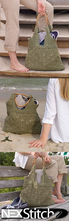Metedeconk Beach Tote Crochet Pattern - $5.50 - Purchase Pattern Here: http://www.ravelry.com/patterns/library/milk-thistle-shawlette Read more about the inspiration behind this bag: www.nexstitch.com... #crochet #pattern #diy #craft