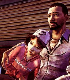 Best two characters in a game ever!!! Lee Everette and Clementine from the Walking Dead.