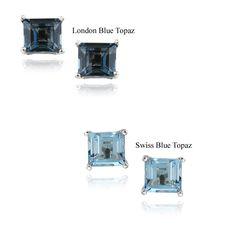 Glitzy Rocks Silver Topaz 6-mm Square Stud Earrings
