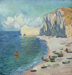Claude Monet/ French 1840-1926/ Etretat: The Beach and the Falaise d'Amont. 1885