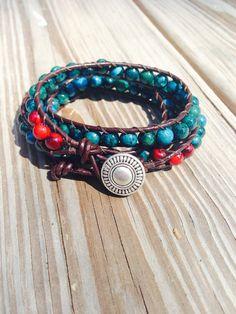 Handmade Leather Wrap Bracelet - Blue/Green and Red Jasper beads