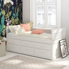 Captains Single Cabin Bed with Trundle and Drawers Just Kids Colour: White - White - Size: H X W X D Girls Bed With Storage, Single Beds With Storage, Bed Designs With Storage, Bed Frame With Storage, Bed Storage, Easy Storage, Trundle Bed With Storage, Bed With Storage Under, Beds With Storage Drawers