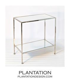 "Pierce Side Table | Nickel, 25"" H x 22"" W x 12"" D, $625"