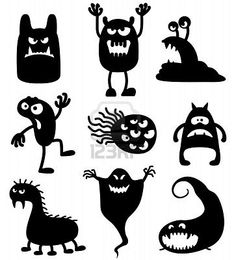 Silhouettes of cute doodle monsters-bacteria Stock Photo