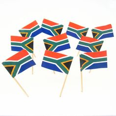 The South African flag features a red (top) & blue (bottom) band separated by a horizontal green Africa Theme Party, African Party Theme, South African Braai, South African Flag, Africa Mission Trip, Mission Trips, Africa Decor, Banquet Decorations, Party Themes