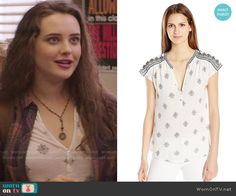 Hannah's white printed henley top  on 13 Reasons Why.  Outfit Details: https://wornontv.net/69893/ #13ReasonsWhy