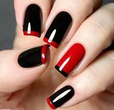 Black + Red french mani