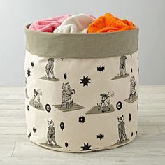 The playfully illustrated creatures on this animal floor bin would love it if you'd add a few to a bedroom, playroom or nursery. The cotton construction makes it perfect for storing toys, games and more. Kids Storage Bins, Storage Baskets, Storage Organizers, Girls Princess Room, Fantasy Bedroom, Bear Nursery, Interior Design Elements, Unique Toys, Kids Bath