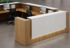 simple reception cumputer desk  white tone top L shpe