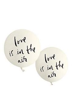 "we love the idea of filling a room with balloons for wedding (or engagement party, or shower, or rehearsal dinner…) décor. these ""love is in the air"" balloons, which are a whimsical 30"" round when filled, should do the trick. @katespadeny"