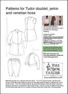 Pattern for Men's Tudor Doublet, Jerkin and Venetian Hose Renaissance Costume, Renaissance Men, Medieval Costume, Renaissance Clothing, Historical Clothing, Tudor Tailor, Mens Garb, Tudor Fashion, Tudor Era