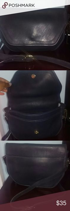 Coach vintage black bag Mid-sized vintage black leather Coach bag. Stop is long, can be worn as a crossbody. Barely used , metal is not tarnished, one scratch on the back. Bags Shoulder Bags