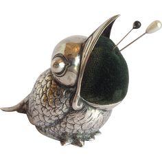 Bird Pin Cushion Figural German 800 Silver