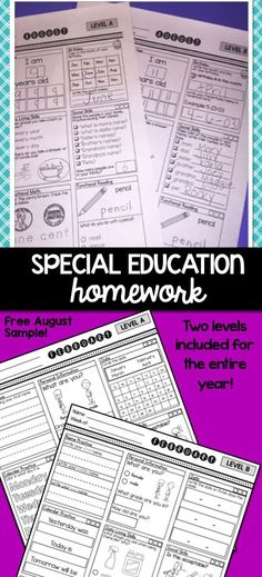 YEAR long homework for the special education classroom. Nine skills areas. TWO levels included! Try the AUGUST set for FREE!