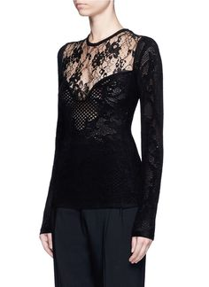 Lanvin | Floral lace insert brushed open knit sweater