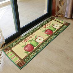 Apple Pattern Floor/Door Mat Kitchen Rug Bedroom Non Slip Carpet Gift Kitchen Area Rugs, Kitchen Fabric, Kitchen Mat, Kitchen Runner, Kitchen Dining, Dining Room, Apple Kitchen Decor, Kitchen Rustic, Red Kitchen