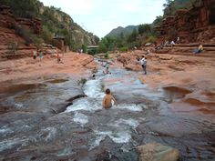 Slide Rock State Park in AZ - the rocks are so smooth and slippery they form a natural slide....so much fun!