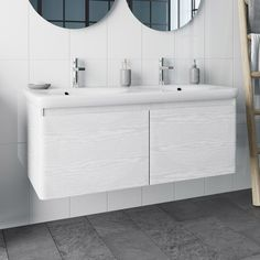 Mode Heath white LED wall hung vanity unit and basin