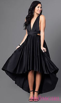 Trending Shop cocktail dresses and high low homeing dresses at Simply Dresses Black semi formal v neck dresses for weddings and formal parties