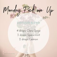 Monday Pick me up Diffuser Blend - All About Health Clary Sage Essential Oil, Essential Oils 101, Essential Oil Scents, Essential Oil Perfume, Essential Oil Diffuser Blends, Young Living Essential Oils, Doterra Oils, Doterra Diffuser, Doterra Blends