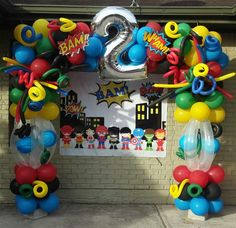 Baby Superhero Backdrop with balloon arch