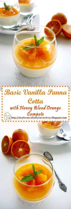 Basic Vanilla Panna Cotta with Honey Blood Orange Compote. #bloodorange #pannacotta #dessert #pudding #orangecompote #Italiandessert #foodphotography #pannacottaphotos
