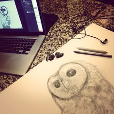 Drawing of spotted owl in progress Pencil on paper © 2016 by Simone Guimaraes